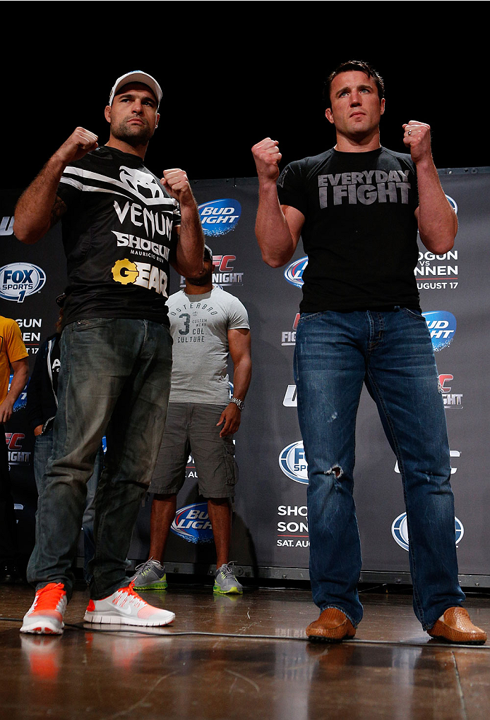 "BOSTON, MA - AUGUST 15:  (L-R) Opponents Mauricio ""Shogun"" Rua and Chael Sonnen pose for photos during a UFC press conference at the Wang Theatre on August 15, 2013 in Boston, Massachusetts. (Photo by Josh Hedges/Zuffa LLC/Zuffa LLC via Getty Images)"