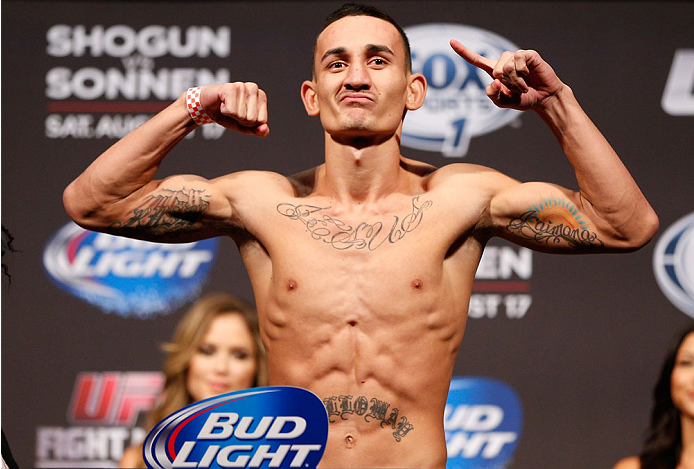 BOSTON, MA - AUGUST 16:  Max Holloway weighs in during the UFC weigh-in inside TD Garden on August 16, 2013 in Boston, Massachusetts. (Photo by Josh Hedges/Zuffa LLC/Zuffa LLC via Getty Images)