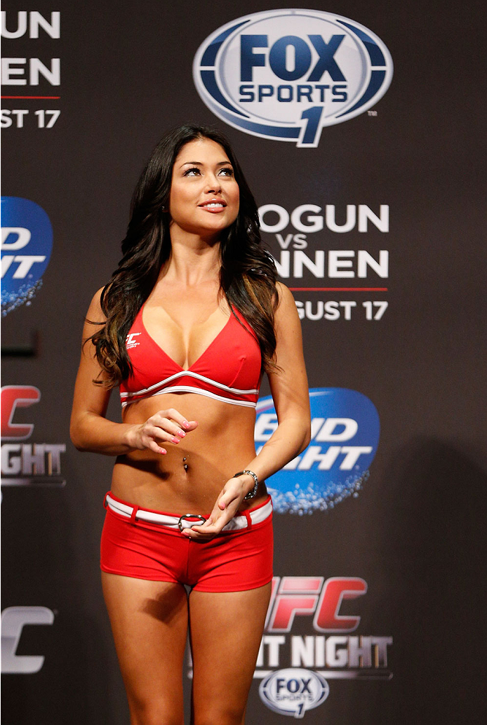 BOSTON, MA - AUGUST 16:  UFC Octagon Girl Arianny Celeste stands on stage during the UFC weigh-in inside TD Garden on August 16, 2013 in Boston, Massachusetts. (Photo by Josh Hedges/Zuffa LLC/Zuffa LLC via Getty Images)