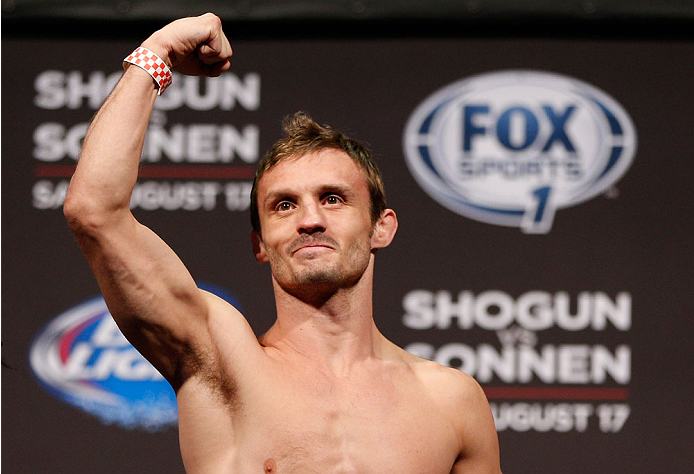BOSTON, MA - AUGUST 16:  Brad Pickett weighs in during the UFC weigh-in inside TD Garden on August 16, 2013 in Boston, Massachusetts. (Photo by Josh Hedges/Zuffa LLC/Zuffa LLC via Getty Images)