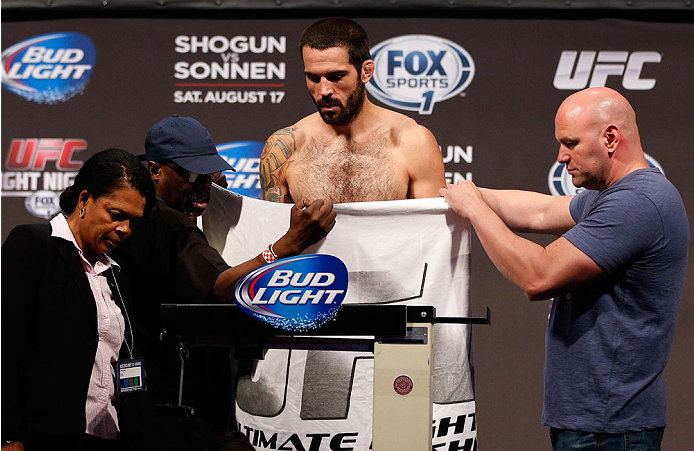 BOSTON, MA - AUGUST 16:  Matt Brown weighs in during the UFC weigh-in inside TD Garden on August 16, 2013 in Boston, Massachusetts. (Photo by Josh Hedges/Zuffa LLC/Zuffa LLC via Getty Images)