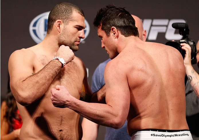 "BOSTON, MA - AUGUST 16:  (L-R) Opponents Mauricio ""Shogun"" Rua and Chael Sonnen face off during the UFC weigh-in inside TD Garden on August 16, 2013 in Boston, Massachusetts. (Photo by Josh Hedges/Zuffa LLC/Zuffa LLC via Getty Images)"
