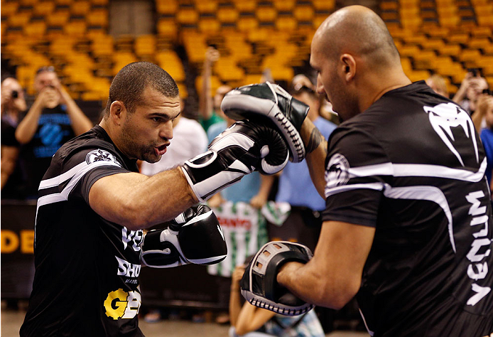 "BOSTON, MA - AUGUST 14:  Mauricio ""Shogun"" Rua holds an open training session for fans and media inside TD Garden on August 14, 2013 in Boston, Massachusetts. (Photo by Josh Hedges/Zuffa LLC/Zuffa LLC via Getty Images)"
