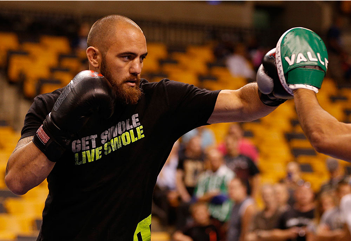 BOSTON, MA - AUGUST 14:  Travis Browne holds an open training session for fans and media inside TD Garden on August 14, 2013 in Boston, Massachusetts. (Photo by Josh Hedges/Zuffa LLC/Zuffa LLC via Getty Images)