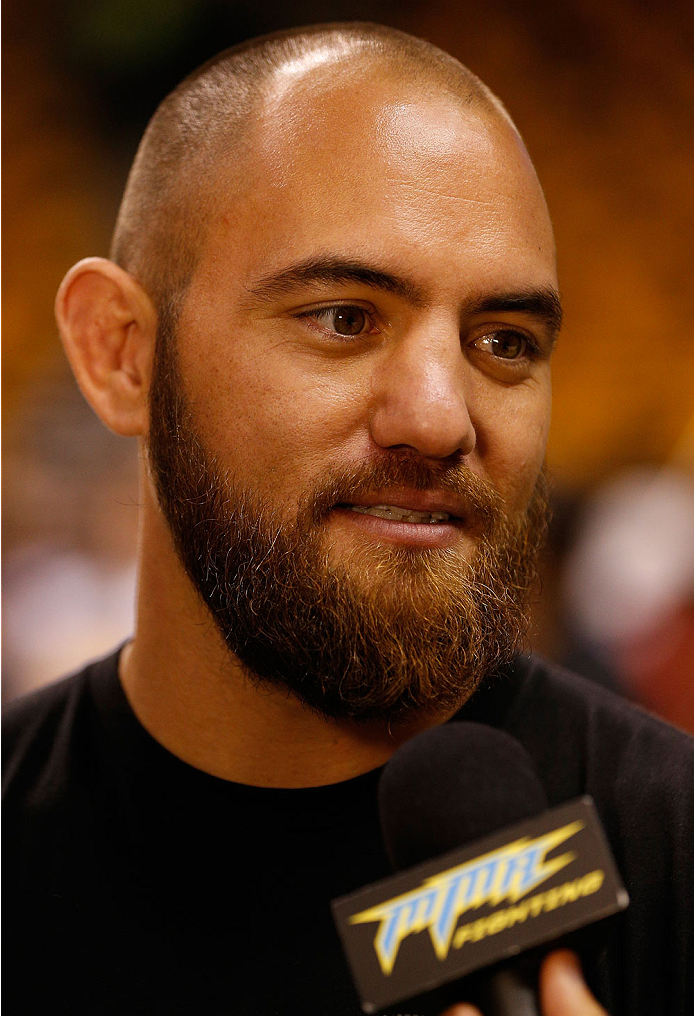 BOSTON, MA - AUGUST 14:  Travis Browne interacts with media after an open training session for fans and media inside TD Garden on August 14, 2013 in Boston, Massachusetts. (Photo by Josh Hedges/Zuffa LLC/Zuffa LLC via Getty Images)