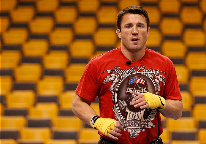 BOSTON, MA - AUGUST 14:  Chael Sonnen holds an open training session for fans and media inside TD Garden on August 14, 2013 in Boston, Massachusetts. (Photo by Josh Hedges/Zuffa LLC/Zuffa LLC via Getty Images)