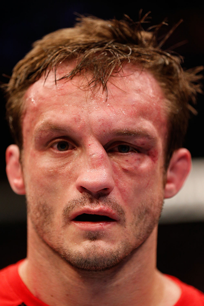 BOSTON, MA - AUGUST 17:  Brad Pickett reacts after his submission loss to Michael McDonald in their UFC bantamweight bout at TD Garden on August 17, 2013 in Boston, Massachusetts. (Photo by Josh Hedges/Zuffa LLC/Zuffa LLC via Getty Images)