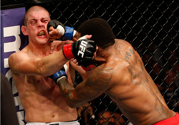 Johnson's punches force Lauzon against the Octagon