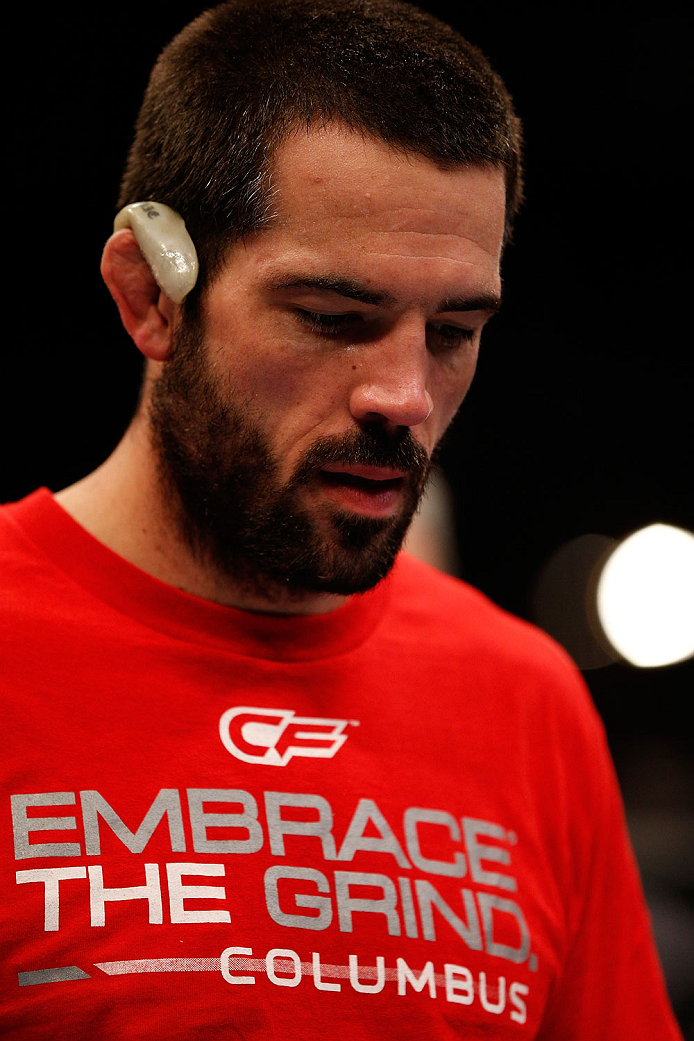 BOSTON, MA - AUGUST 17:  Matt Brown reacts after his knockout victory over Mike Pyle in their UFC welterweight bout at TD Garden on August 17, 2013 in Boston, Massachusetts. (Photo by Josh Hedges/Zuffa LLC/Zuffa LLC via Getty Images)