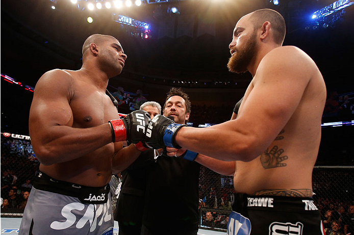 BOSTON, MA - AUGUST 17:  (L-R) Opponents Alistair Overeem and Travis Browne face off before their UFC heavyweight bout at TD Garden on August 17, 2013 in Boston, Massachusetts. (Photo by Josh Hedges/Zuffa LLC/Zuffa LLC via Getty Images)