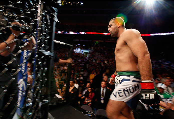 "BOSTON, MA - AUGUST 17:  Mauricio ""Shogun"" Rua enters the Octagon before his UFC light heavyweight bout against Chael Sonnen at TD Garden on August 17, 2013 in Boston, Massachusetts. (Photo by Josh Hedges/Zuffa LLC/Zuffa LLC via Getty Images)"