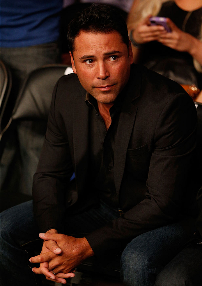 BOSTON, MA - AUGUST 17:  Boxing legend Oscar De La Hoya attends the UFC on FOX Sports 1 event at TD Garden on August 17, 2013 in Boston, Massachusetts. (Photo by Josh Hedges/Zuffa LLC/Zuffa LLC via Getty Images)