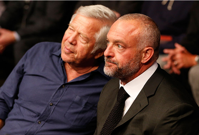 BOSTON, MA - AUGUST 17:  (L-R) New England Patriots owner Robert Kraft and UFC owner Lorenzo Fertitta attend the UFC on FOX Sports 1 event at TD Garden on August 17, 2013 in Boston, Massachusetts. (Photo by Josh Hedges/Zuffa LLC/Zuffa LLC via Getty Images)