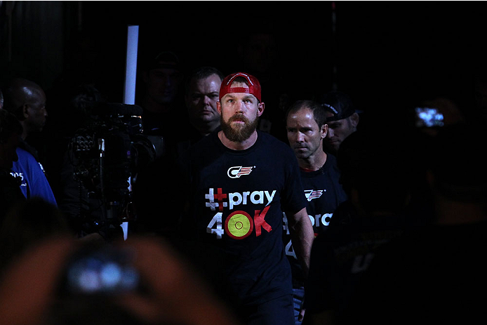 INDIANAPOLIS, IN - AUGUST 28:  James Head enters the arena before his welterweight fight against Jason High during the UFC on FOX Sports 1 event at Bankers Life Fieldhouse on August 28, 2013 in Indianapolis, Indiana. (Photo by Ed Mulholland/Zuffa LLC/Zuffa LLC via Getty Images)