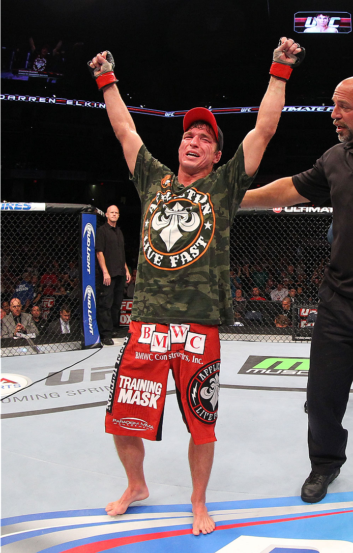 INDIANAPOLIS, IN - AUGUST 28:  Darren Elkins reacts after his victory over Hatsu Hioki in their featherweight fight during the UFC on FOX Sports 1 event at Bankers Life Fieldhouse on August 28, 2013 in Indianapolis, Indiana. (Photo by Ed Mulholland/Zuffa LLC/Zuffa LLC via Getty Images)