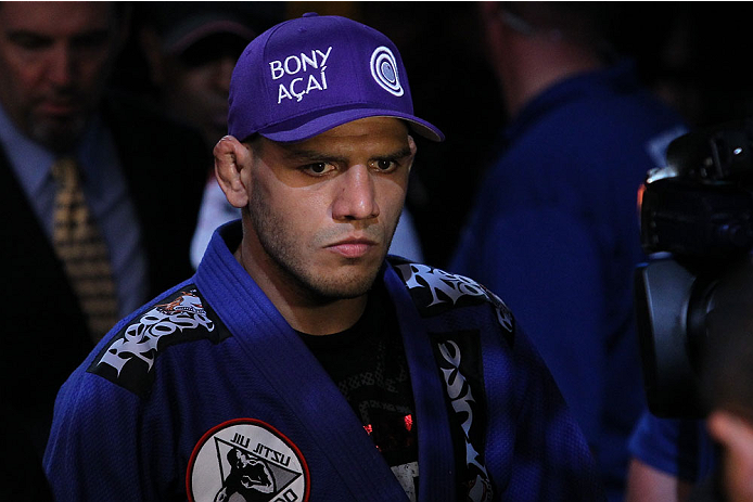 "INDIANAPOLIS, IN - AUGUST 28:  Rafael dos Anjos enters the arena before his lightweight fight against Donald ""Cowboy"" Cerrone during the UFC on FOX Sports 1 event at Bankers Life Fieldhouse on August 28, 2013 in Indianapolis, Indiana. (Photo by Ed Mulholland/Zuffa LLC/Zuffa LLC via Getty Images)"