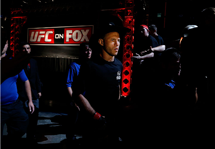 "INDIANAPOLIS, IN - AUGUST 28:  Donald ""Cowboy"" Cerrone enters the arena before his lightweight fight against Rafael dos Anjos during the UFC on FOX Sports 1 event at Bankers Life Fieldhouse on August 28, 2013 in Indianapolis, Indiana. (Photo by Josh Hedges/Zuffa LLC/Zuffa LLC via Getty Images)"