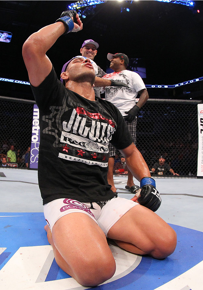 "INDIANAPOLIS, IN - AUGUST 28:  Rafael dos Anjos reacts after defeating Donald ""Cowboy"" Cerrone in their lightweight fight during the UFC on FOX Sports 1 event at Bankers Life Fieldhouse on August 28, 2013 in Indianapolis, Indiana. (Photo by Ed Mulholland/Zuffa LLC/Zuffa LLC via Getty Images)"