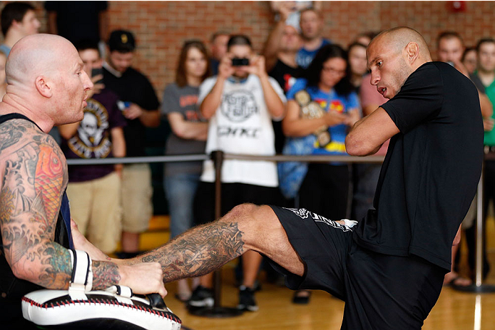 "INDIANAPOLIS, IN - AUGUST 26:  Donald ""Cowboy"" Cerrone holds an open training session for fans and media at Banker's Life Fieldhouse on August 26, 2013 in Indianapolis, Indiana. (Photo by Josh Hedges/Zuffa LLC/Zuffa LLC via Getty Images)"
