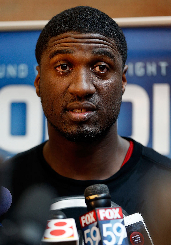 INDIANAPOLIS, IN - AUGUST 26:  Indiana Pacers center Roy Hibbert interacts with media during the UFC open workouts at Banker's Life Fieldhouse on August 26, 2013 in Indianapolis, Indiana. (Photo by Josh Hedges/Zuffa LLC/Zuffa LLC via Getty Images)
