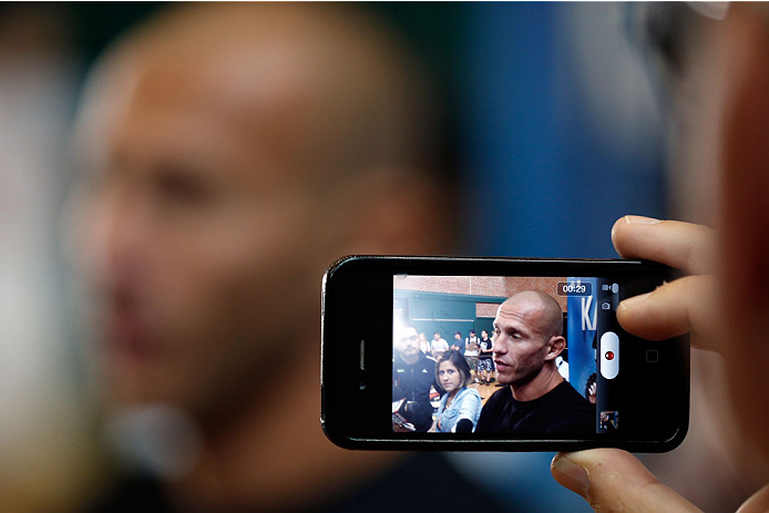 "INDIANAPOLIS, IN - AUGUST 26: Donald ""Cowboy"" Cerrone interacts with media at Banker's Life Fieldhouse on August 26, 2013 in Indianapolis, Indiana. (Photo by Josh Hedges/Zuffa LLC/Zuffa LLC via Getty Images)"