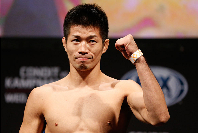 INDIANAPOLIS, IN - AUGUST 27:  Hatsu Hioki weighs in during the UFC weigh-in event at Bankers Life Fieldhouse on August 27, 2013 in Indianapolis, Indiana. (Photo by Josh Hedges/Zuffa LLC/Zuffa LLC via Getty Images)