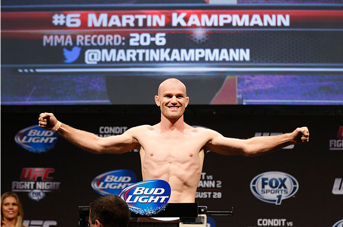 INDIANAPOLIS, IN - AUGUST 27:  Martin Kampmann weighs in during the UFC weigh-in event at Bankers Life Fieldhouse on August 27, 2013 in Indianapolis, Indiana. (Photo by Josh Hedges/Zuffa LLC/Zuffa LLC via Getty Images)