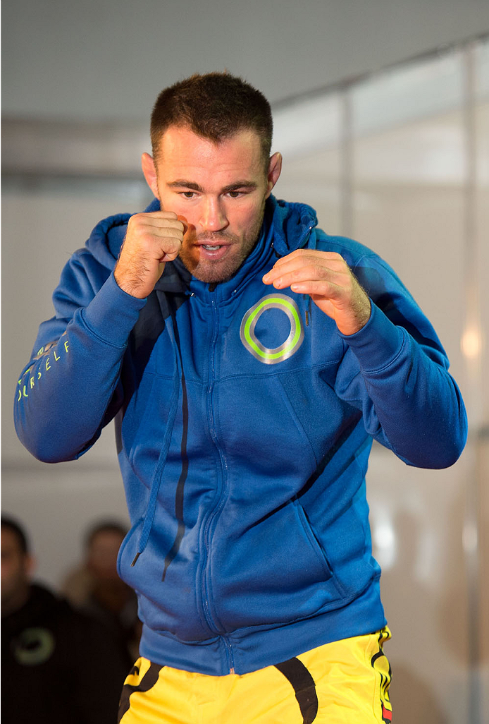 BARUERI, BRAZIL - OCTOBER 7:  Jake Shields holds an open training session for media at the Ginasio Jose Correa on October 7, 2013 in Barueri, Sao Paulo, Brazil. (Photo by Jeff Bottari/Zuffa LLC/Zuffa LLC via Getty Images) *** Local Caption *** Jake Shields