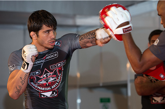BARUERI, BRAZIL - OCTOBER 7:  Erick Silva holds an open training session for media at the Ginasio Jose Correa on October 7, 2013 in Barueri, Sao Paulo, Brazil. (Photo by Jeff Bottari/Zuffa LLC/Zuffa LLC via Getty Images) *** Local Caption *** Erick Silva