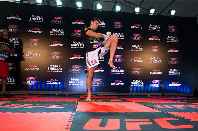 BARUERI, BRAZIL - OCTOBER 7:  Demian Maia stretches during an open training session for media at the Ginasio Jose Correa on October 7, 2013 in Barueri, Sao Paulo, Brazil. (Photo by Jeff Bottari/Zuffa LLC/Zuffa LLC via Getty Images) *** Local Caption *** Demian Maia