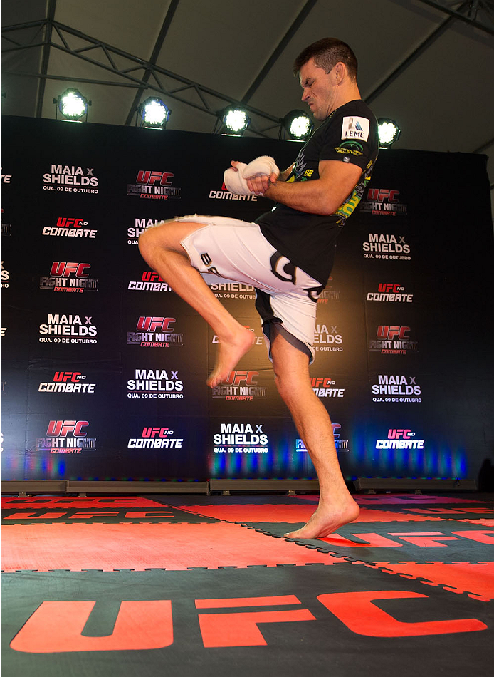 BARUERI, BRAZIL - OCTOBER 7:  Demian Maia holds an open training session for media at the Ginasio Jose Correa on October 7, 2013 in Barueri, Sao Paulo, Brazil. (Photo by Jeff Bottari/Zuffa LLC/Zuffa LLC via Getty Images) *** Local Caption *** Demian Maia
