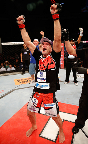 FORTALEZA, BRAZIL - JUNE 08:  Rodrigo Damm reacts after his split decision victory over Mizuto Hirota in their featherweight fight during the UFC on FUEL TV event at Paulo Sarasate Arena on June 8, 2013 in Fortaleza, Ceara, Brazil.  (Photo by Josh Hedges/Zuffa LLC/Zuffa LLC via Getty Images)