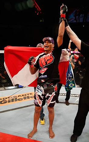 FORTALEZA, BRAZIL - JUNE 08:  Ildemar Alcantara reacts after defeating Leandro Silva in their welterweight fight during the UFC on FUEL TV event at Paulo Sarasate Arena on June 8, 2013 in Fortaleza, Ceara, Brazil.  (Photo by Josh Hedges/Zuffa LLC/Zuffa LLC via Getty Images)