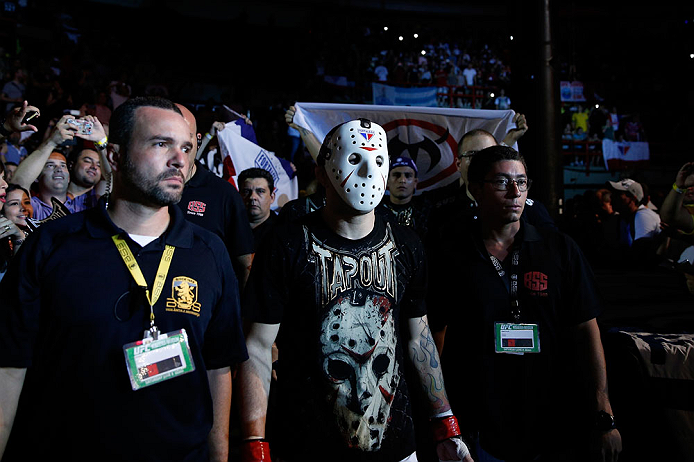 "FORTALEZA, BRAZIL - JUNE 08:  Rony ""Jason"" Mariano Bezerra enters the arena before his featherweight fight against Mike Wilkinson during the UFC on FUEL TV event at Paulo Sarasate Arena on June 8, 2013 in Fortaleza, Ceara, Brazil.  (Photo by Josh Hedges/Zuffa LLC/Zuffa LLC via Getty Images)"