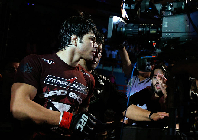 FORTALEZA, BRAZIL - JUNE 08:  Erick Silva enters the arena before his welterweight fight against Jason High during the UFC on FUEL TV event at Paulo Sarasate Arena on June 8, 2013 in Fortaleza, Ceara, Brazil.  (Photo by Josh Hedges/Zuffa LLC/Zuffa LLC via Getty Images)