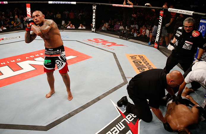 "FORTALEZA, BRAZIL - JUNE 08:  Thiago Silva reacts after knocking out Rafael ""Feijao"" Cavalcante in their light heavyweight fight during the UFC on FUEL TV event at Paulo Sarasate Arena on June 8, 2013 in Fortaleza, Ceara, Brazil.  (Photo by Josh Hedges/Zuffa LLC/Zuffa LLC via Getty Images)"