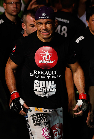 "FORTALEZA, BRAZIL - JUNE 08:  Antonio Rodrigo ""Minotauro"" Nogueira enters the arena before his heavyweight fight against Fabricio Werdum during the UFC on FUEL TV event at Paulo Sarasate Arena on June 8, 2013 in Fortaleza, Ceara, Brazil.  (Photo by Josh Hedges/Zuffa LLC/Zuffa LLC via Getty Images)"