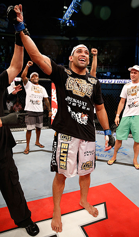 FORTALEZA, BRAZIL - JUNE 08:  Fabricio Werdum reacts after defeating Antonio Rodrigo Nogueira in their heavyweight fight during the UFC on FUEL TV event at Paulo Sarasate Arena on June 8, 2013 in Fortaleza, Ceara, Brazil.  (Photo by Josh Hedges/Zuffa LLC/Zuffa LLC via Getty Images)