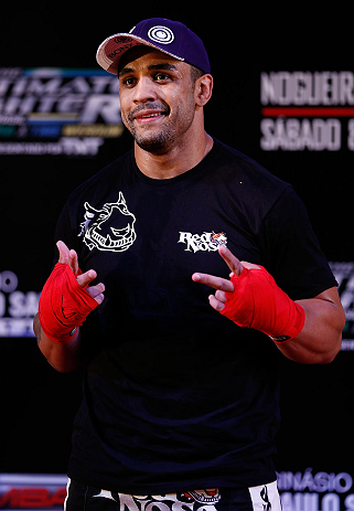 "FORTALEZA, BRAZIL - JUNE 06:  Rafael ""Feijao"" Cavalcante holds an open training session for media at Centro de Eventos do Ceara on June 6, 2013 in Fortaleza, Ceara, Brazil.  (Photo by Josh Hedges/Zuffa LLC/Zuffa LLC via Getty Images)"