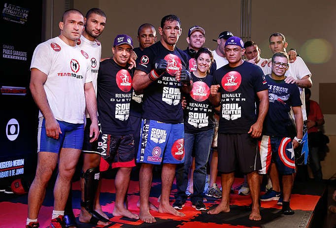 "FORTALEZA, BRAZIL - JUNE 06:  Antonio Rodrigo ""Minotauro"" Nogueira poses with his team after holding an open training session for media at Centro de Eventos do Ceara on June 6, 2013 in Fortaleza, Ceara, Brazil.  (Photo by Josh Hedges/Zuffa LLC/Zuffa LLC via Getty Images)"