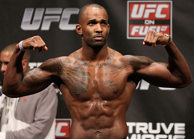 NOTTINGHAM, ENGLAND - SEPTEMBER 28:  Jimi Manuwa weighs in during the UFC on Fuel TV weigh in at Capital FM Arena on September 28, 2012 in Nottingham, England.  (Photo by Josh Hedges/Zuffa LLC/Zuffa LLC via Getty Images)
