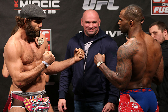 NOTTINGHAM, ENGLAND - SEPTEMBER 28:  (L-R) Opponents Kyle Kingsbury and Jimi Manuwa face off during the UFC on Fuel TV weigh in at Capital FM Arena on September 28, 2012 in Nottingham, England.  (Photo by Josh Hedges/Zuffa LLC/Zuffa LLC via Getty Images)