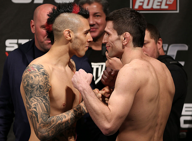 NOTTINGHAM, ENGLAND - SEPTEMBER 28:  (L-R) Opponents Dan Hardy and Amir Sadollah face off during the UFC on Fuel TV weigh in at Capital FM Arena on September 28, 2012 in Nottingham, England.  (Photo by Josh Hedges/Zuffa LLC/Zuffa LLC via Getty Images)