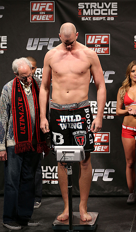NOTTINGHAM, ENGLAND - SEPTEMBER 28:  Stefan Struve weighs in during the UFC on Fuel TV weigh in at Capital FM Arena on September 28, 2012 in Nottingham, England.  (Photo by Josh Hedges/Zuffa LLC/Zuffa LLC via Getty Images)