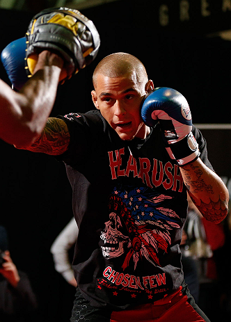 LONDON, ENGLAND - FEBRUARY 13:  Dustin Poirier conducts an open training session for media on February 13, 2013 at Hooks Gym in London, England.  (Photo by Josh Hedges/Zuffa LLC/Zuffa LLC via Getty Images)