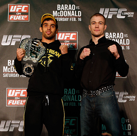 LONDON, ENGLAND - FEBRUARY 13:  (L-R) Opponents Renan Barao and Michael McDonald pose for photos during a UFC press conference on February 13, 2013 at Hooks Gym in London, England.  (Photo by Josh Hedges/Zuffa LLC/Zuffa LLC via Getty Images)