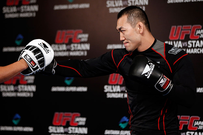 TOKYO, JAPAN - FEBRUARY 28: Yushin Okami holds an open training session for media at the Hilton Sjinjuku Hotel on February 28, 2013 in Tokyo, Japan. (Photo by Josh Hedges/Zuffa LLC/Zuffa LLC via Getty Images)