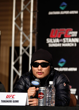 TOKYO, JAPAN - FEBRUARY 28: Takanori Gomi interacts with media during a UFC press conference at the Hilton Sjinjuku Hotel on February 28, 2013 in Tokyo, Japan. (Photo by Josh Hedges/Zuffa LLC/Zuffa LLC via Getty Images)