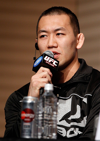 TOKYO, JAPAN - FEBRUARY 28: Yushin Okami interacts with media during a UFC press conference at the Hilton Sjinjuku Hotel on February 28, 2013 in Tokyo, Japan. (Photo by Josh Hedges/Zuffa LLC/Zuffa LLC via Getty Images)