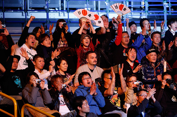 SAITAMA, JAPAN - MARCH 03:  Fans cheer for Takanori Gomi before his lightweight fight against Diego Sanchez during the UFC on FUEL TV event at Saitama Super Arena on March 3, 2013 in Saitama, Japan.  (Photo by Josh Hedges/Zuffa LLC/Zuffa LLC via Getty Images)